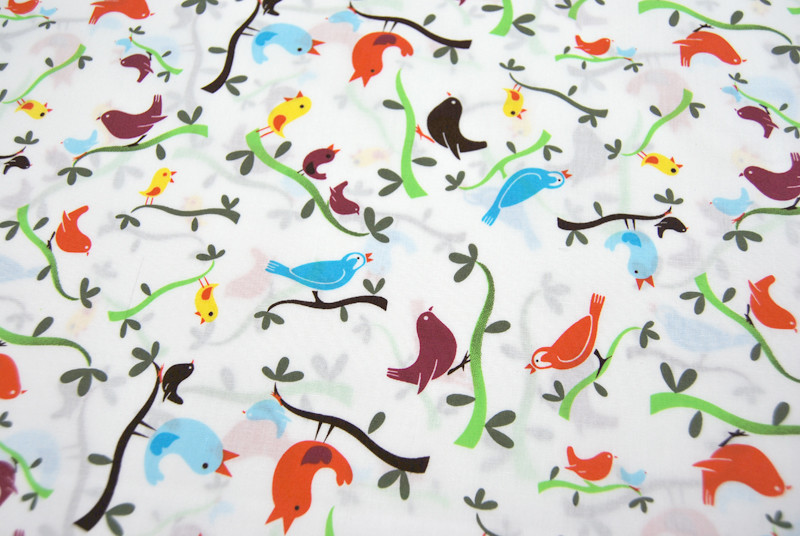 Vogel - Baumwolle - auf Weiß 0,5 Meter - 3