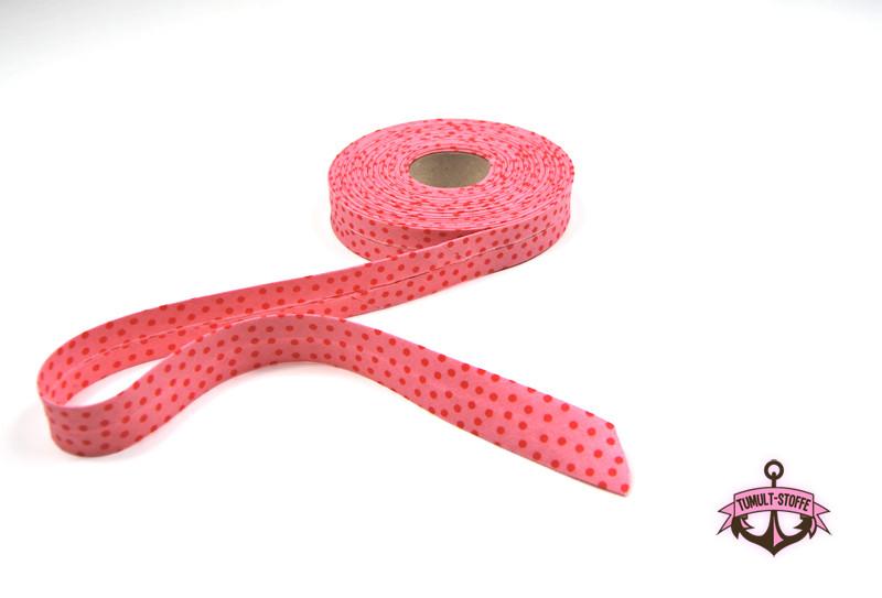 Schraegband - 1 Meter in Rosa mit roten Punkten