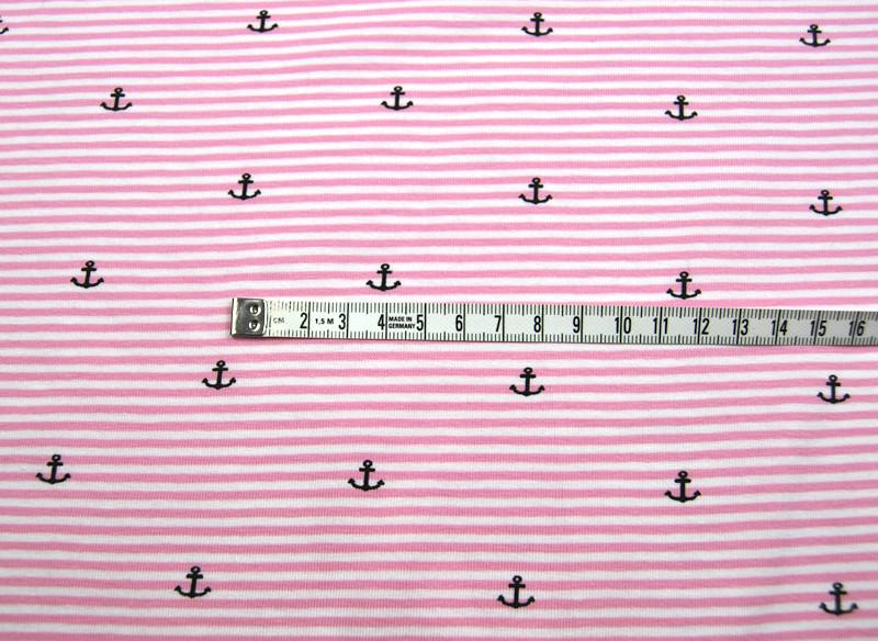 Jersey - Rosa-Weiss gestreift mit Ankern - 0 5 m