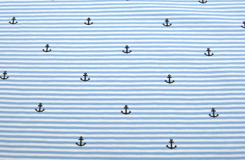 Jersey - Hellblau-Weiß mit Ankern -