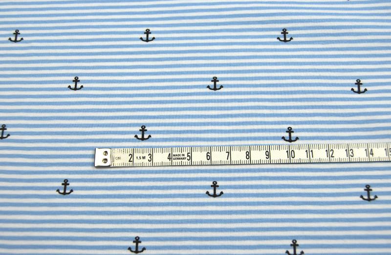 Jersey - Hellblau-Weiss mit Ankern - 0 5 m
