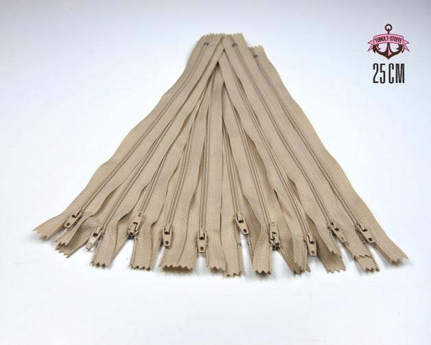 10 x 25 cm hellbeige Reissverschluesse