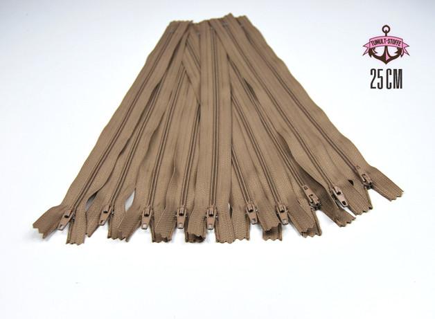 10 x 25 cm milchkaffefarbene Reißverschlüsse