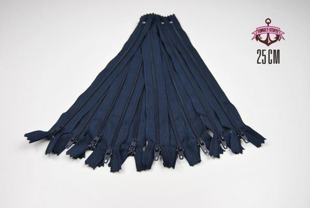 10 x 25 cm nachtblaue Reissverschluesse