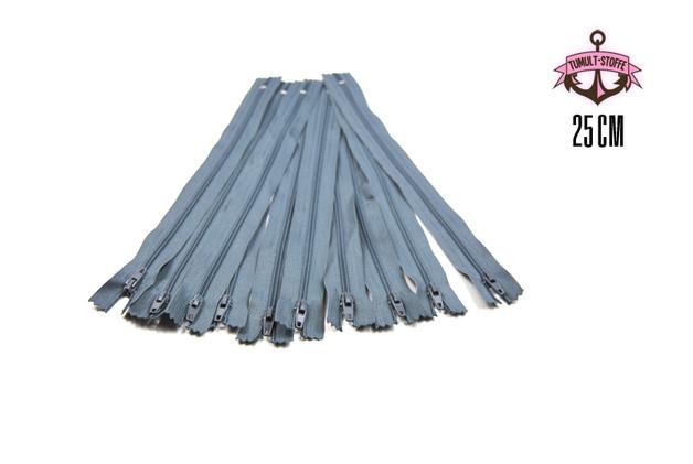 10 x 25 cm graue Reißverschlüsse