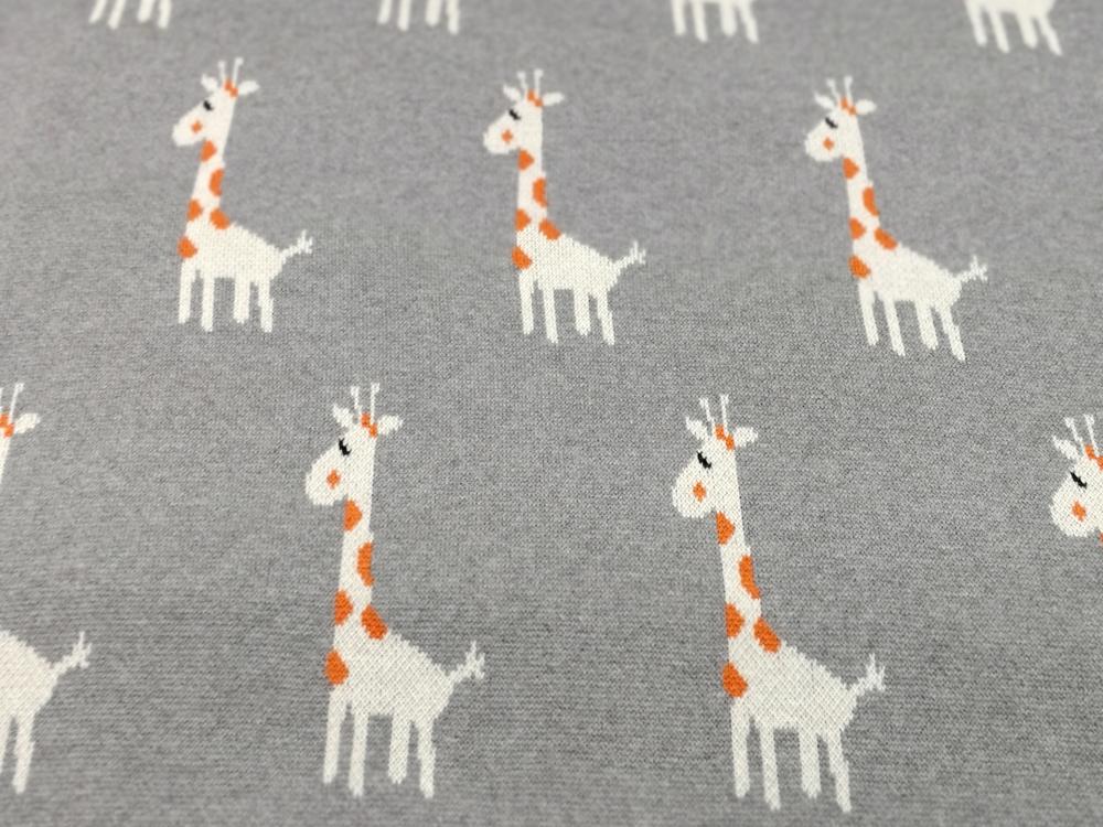 Strick - Jacquard Jersey -Giraffen auf Grau 0,5 Meter