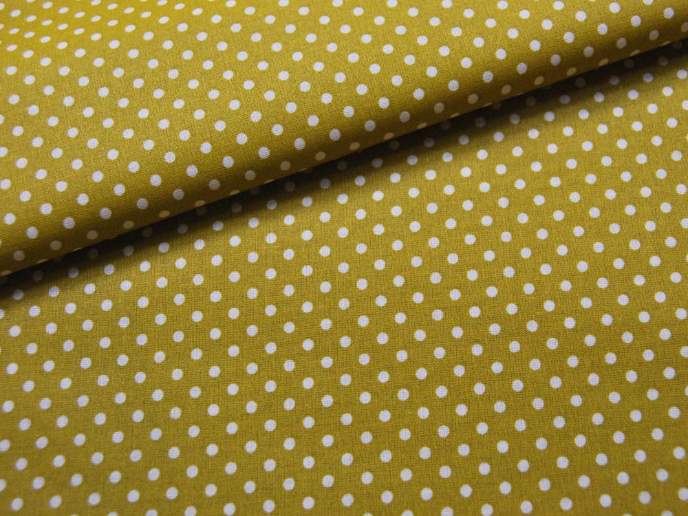 Beschichtete Baumwolle Punkte auf Senf cm