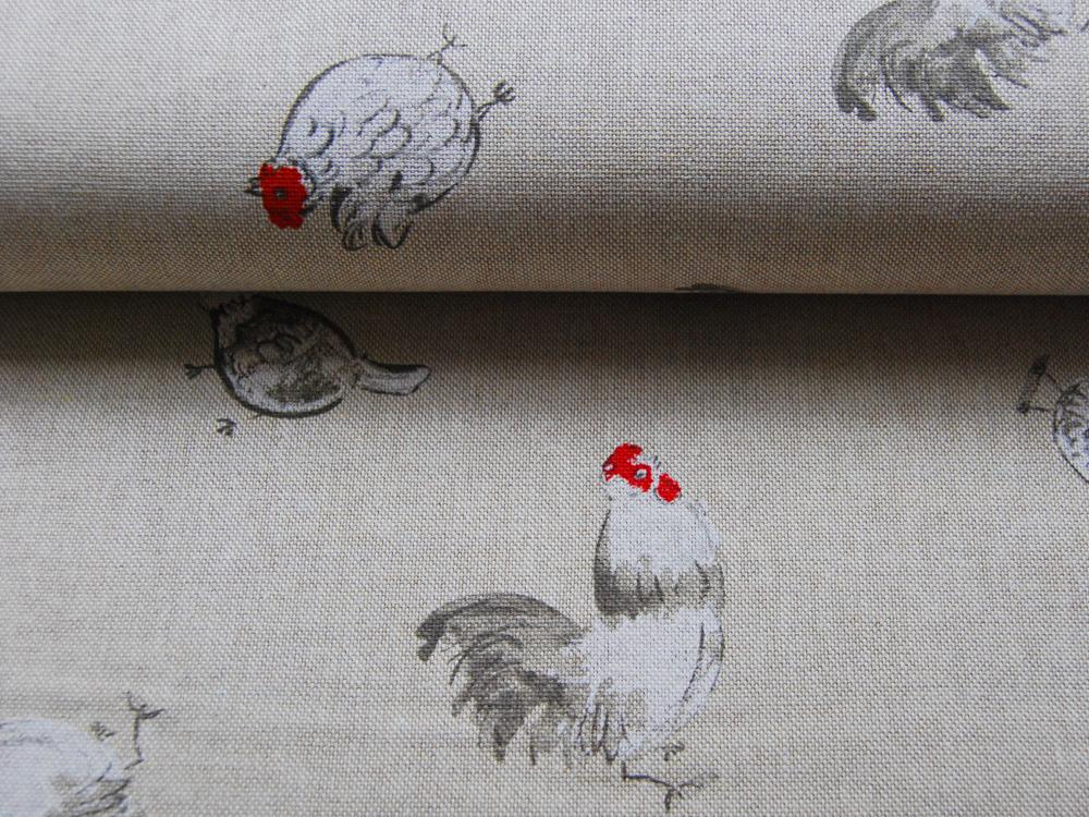 Hühner und Hähne auf Natur Dekostoff