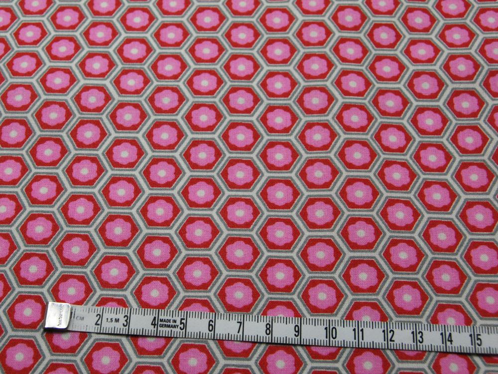 Beschichtete Baumwolle -Blumen in Waben - Rosa-Rot 50 x75 cm - 2