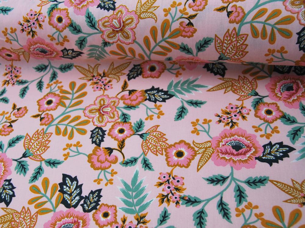 Beschichtete Baumwolle Paisley Blumenmuster auf Hellrosa