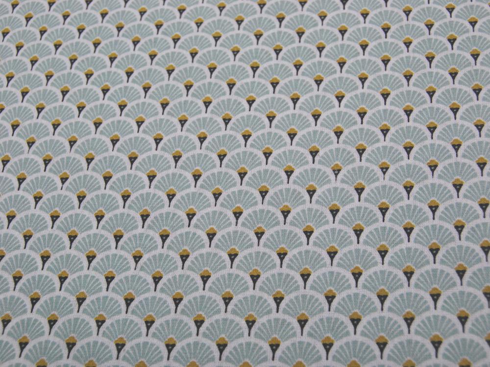 Beschichtete Baumwolle - Fächermuster Mint 50 x75 cm - 1