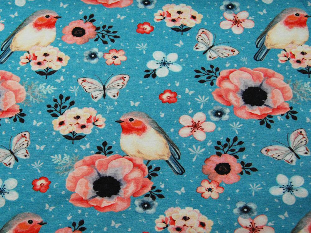 Jersey - Vogel und Schmetterling auf Türkisblau - 0,5 Meter - 2
