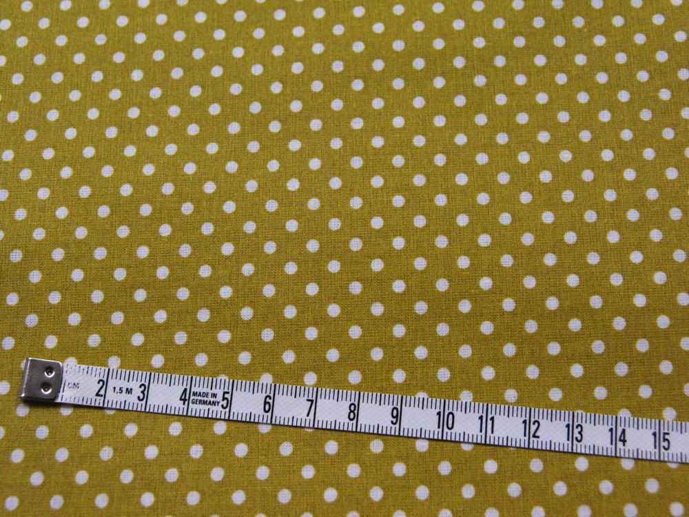 Beschichtete Baumwolle Punkte auf Senf 140cm