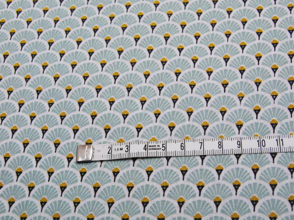Beschichtete Baumwolle - Fächermuster Mint 50 x75 cm - 2