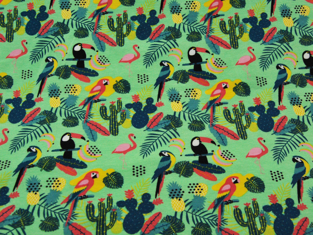 Jersey - Tukan, Papagei, Flamingo, Kaktus usw auf Hellgrün - 0,5 Meter