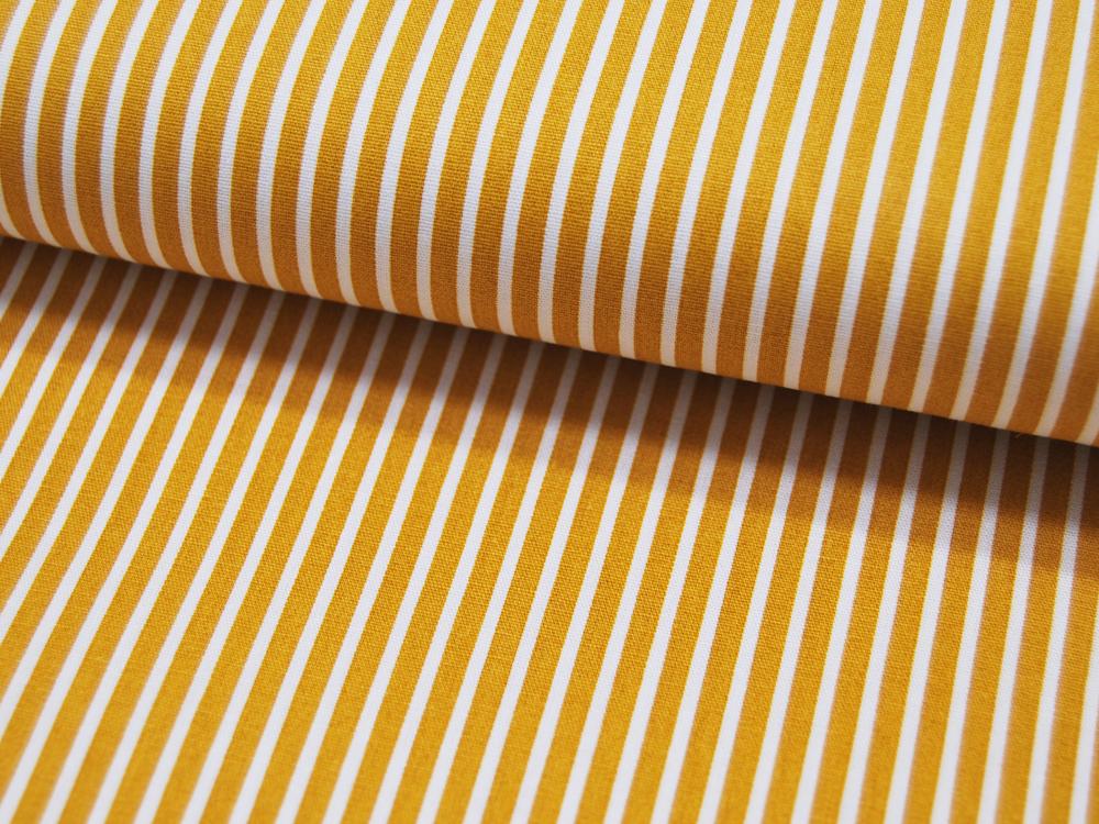 Baumwolle - Stripe - Ocker-Weiss gestreift
