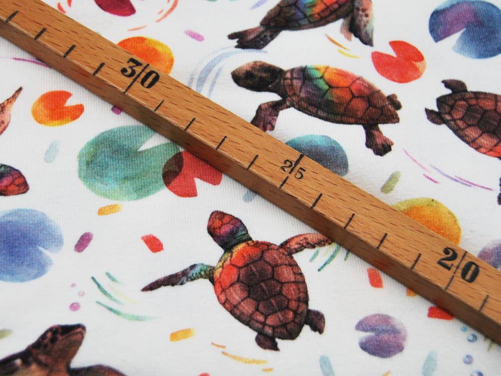 Jersey Wasserschildkröten auf Creme Digitaldruck Meter