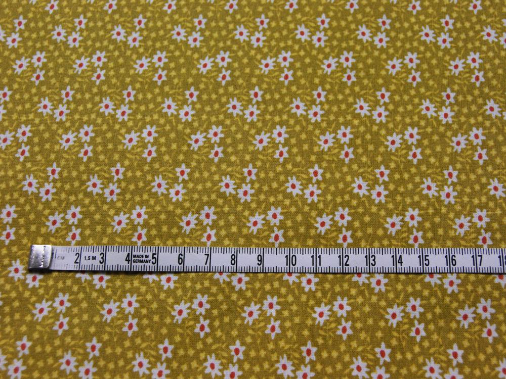 Beschichtete Baumwolle Streublümchen auf Senf 140cm