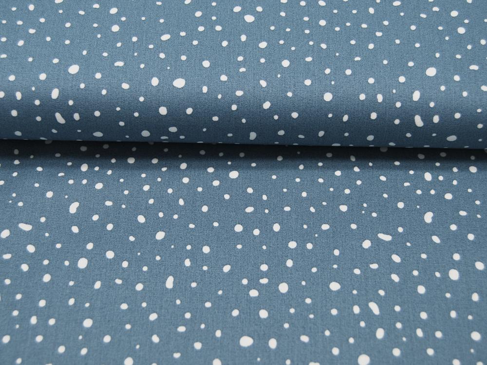 ORGANIC Baumwolle Punkte auf Dusty Blue