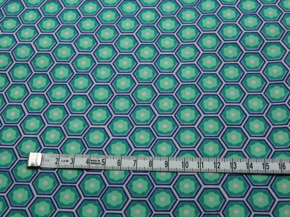 Beschichtete Baumwolle -Blumen in Waben - Türkis-Mint 50 x75 cm - 2
