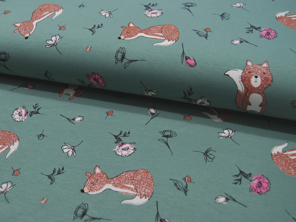 French Terry - Tiere auf Mint - 0,5 Meter - 2