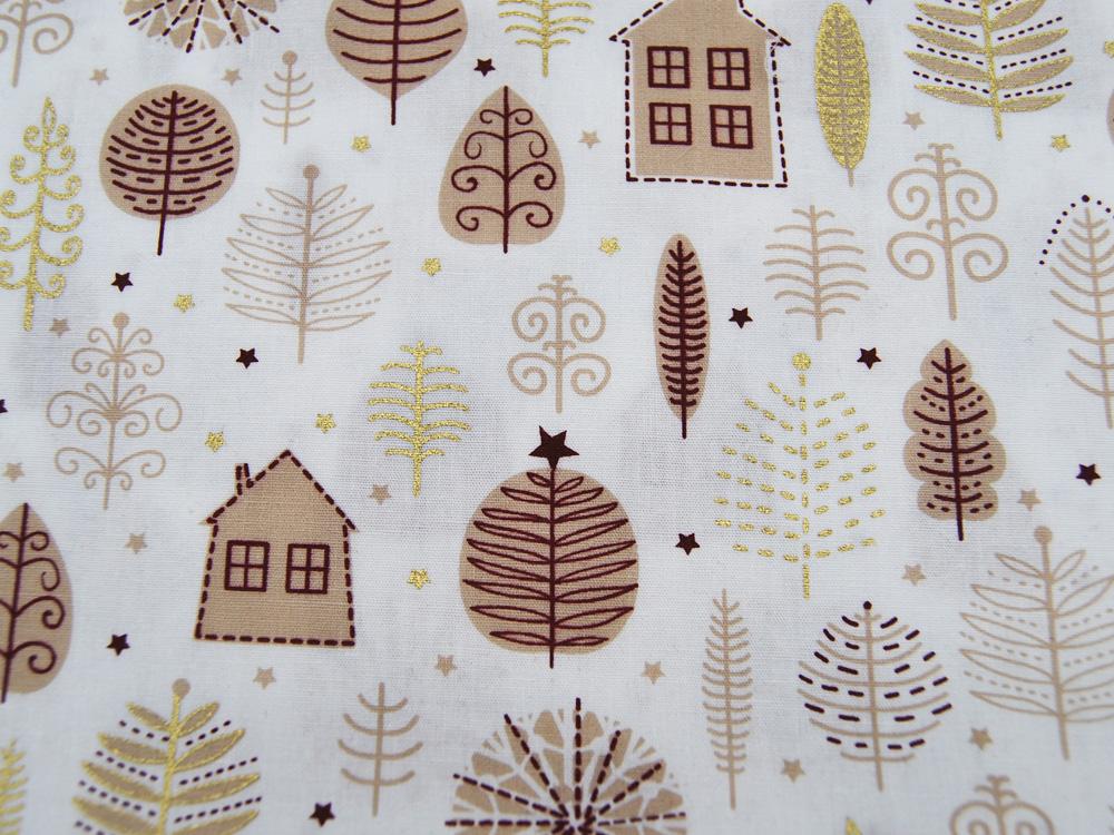 Baumwolle Popeline Weihnachten Christmas House 05m