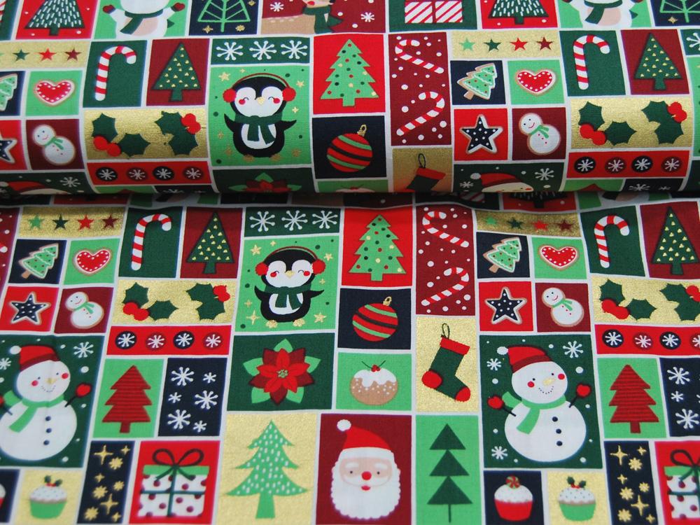Baumwolle Popeline Weihnachten Christmas Patchwork 05m