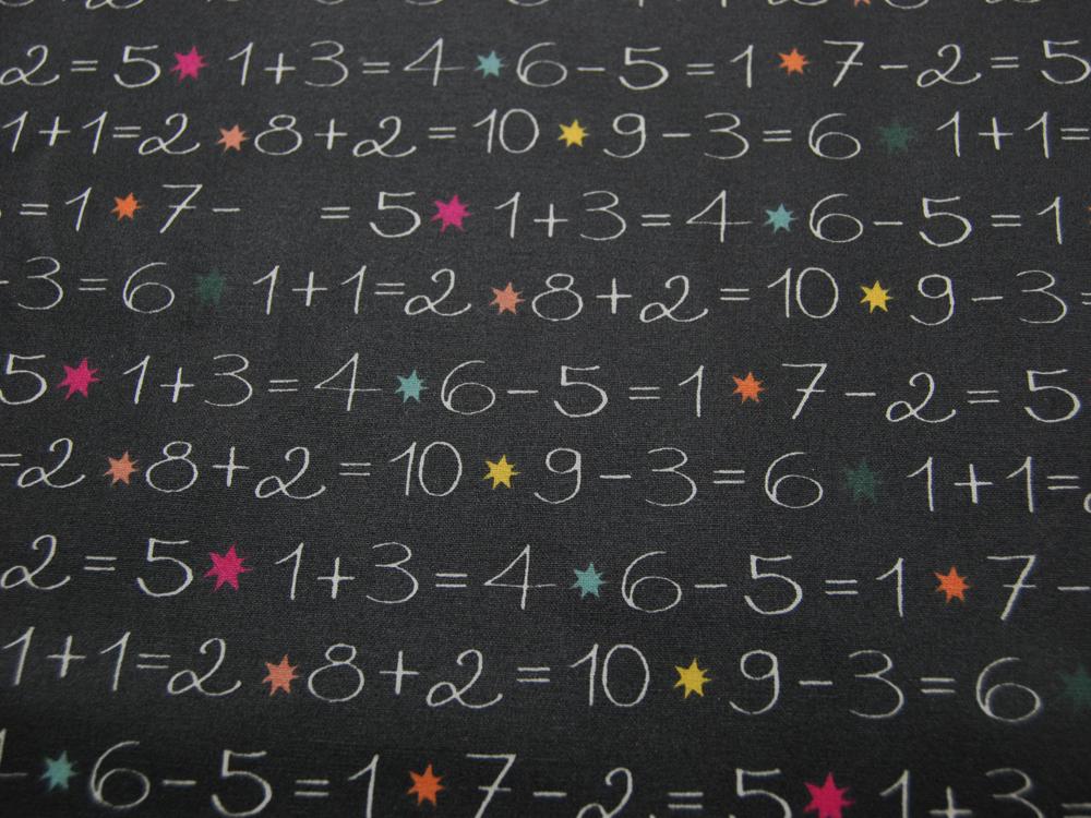 Beschichtete Baumwolle -Tafel - Zahlen auf Schwarz 50 x75 cm - 1