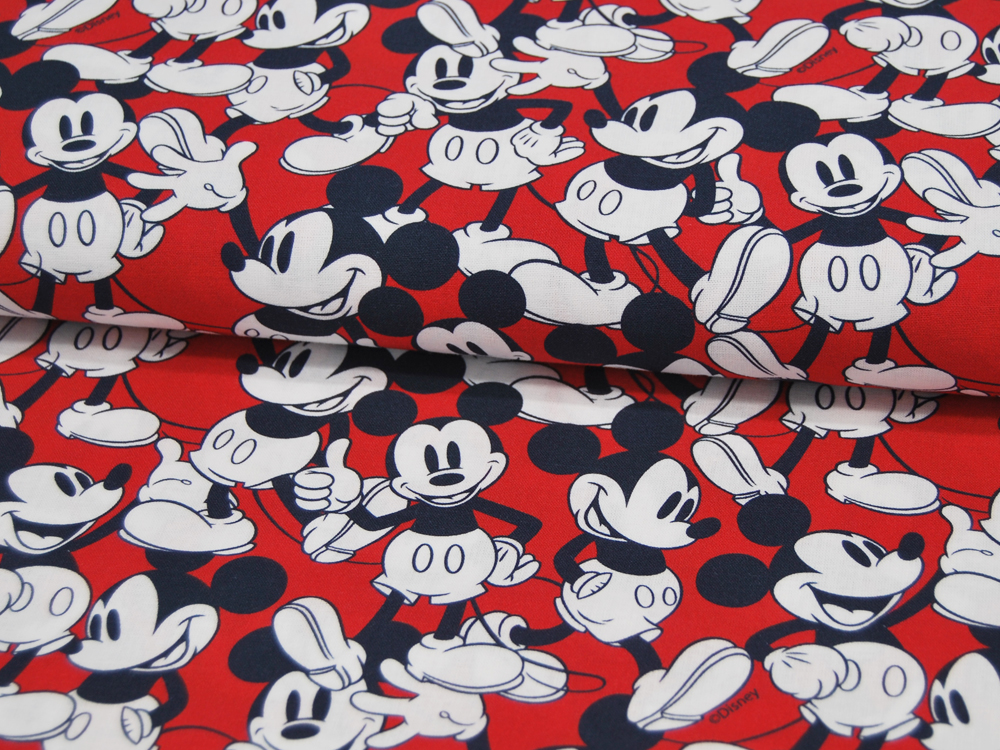 Baumwolle Mickey Mouse auf Rot 05m