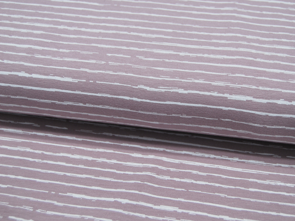 JERSEY STRIPE DUSTY ROSE Streifen 05m