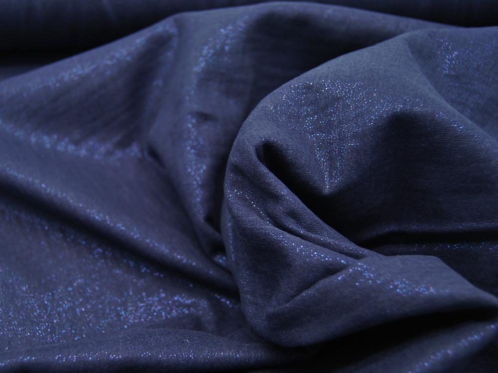 Beschichtete Baumwolle - Glitzer auf Jeansblau 50 x74 cm
