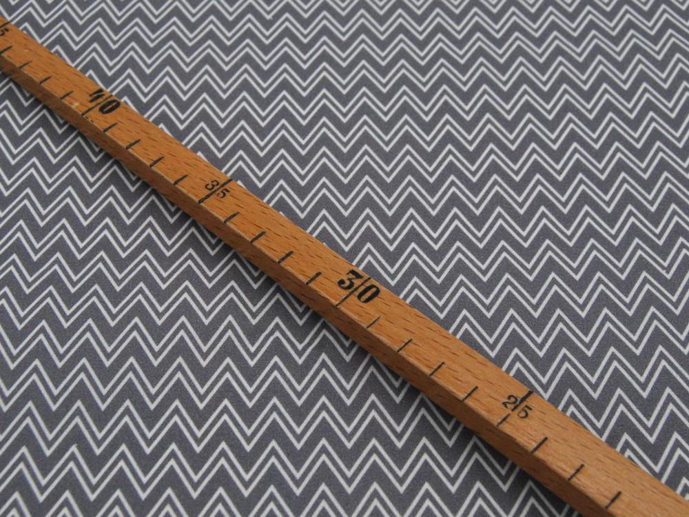 Beschichtete Baumwolle Zackenmuster Grau 50x72 cm