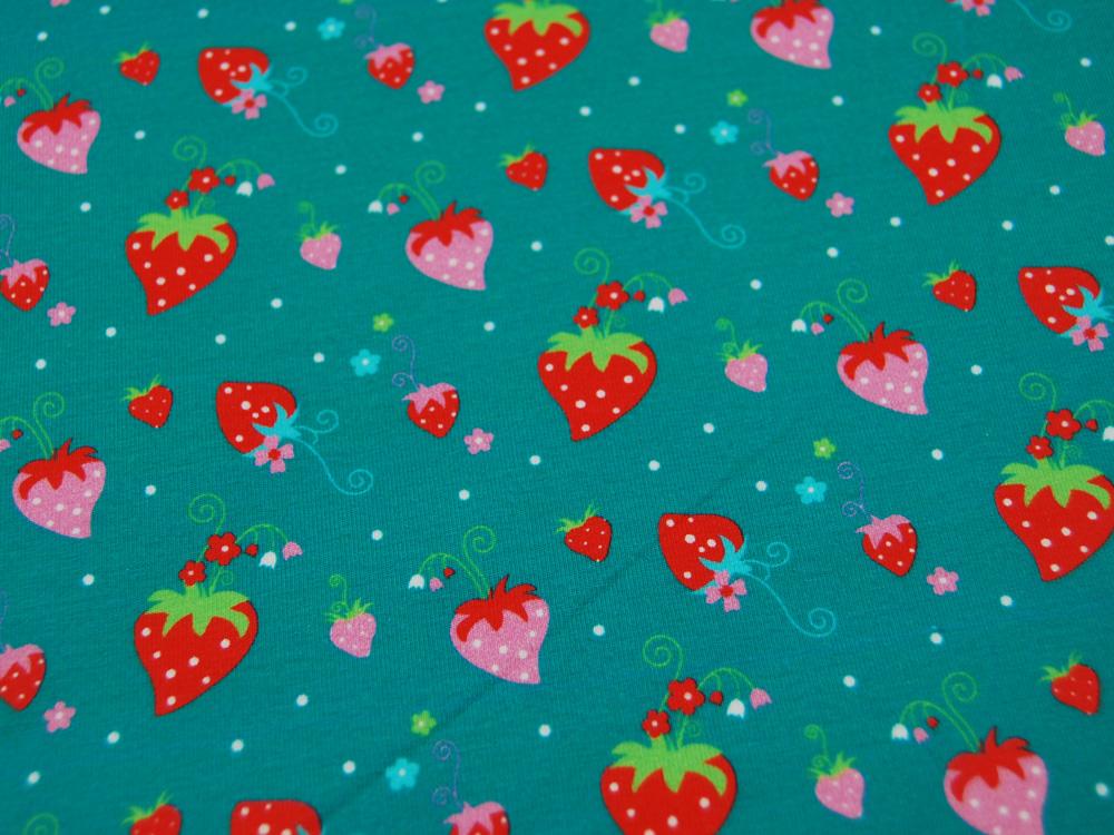 Jersey Erdbeeren auf Petrol Stoffhändler mit
