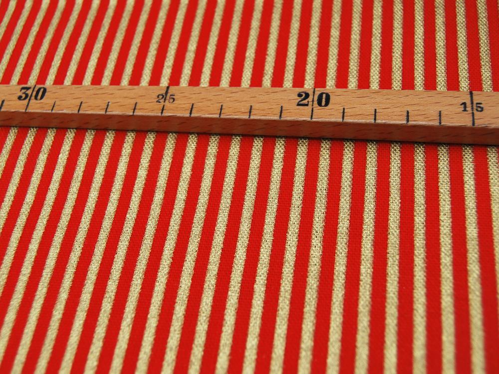 Dekostoff - Gold-Rot gestreift 05m 2