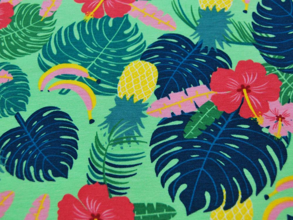 Jersey - Blätter, Blumen, Bananen, Ananas auf Hellgrün - 0,5 Meter