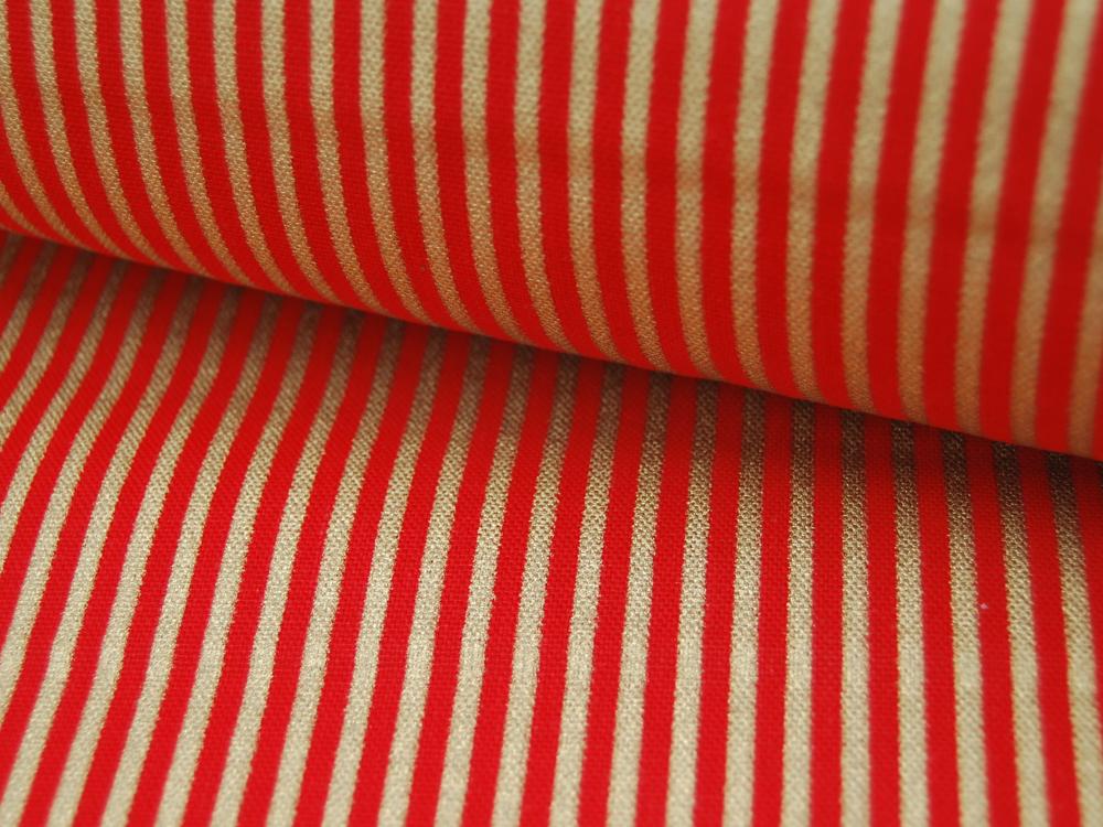 Dekostoff - Gold-Rot gestreift 05m 3