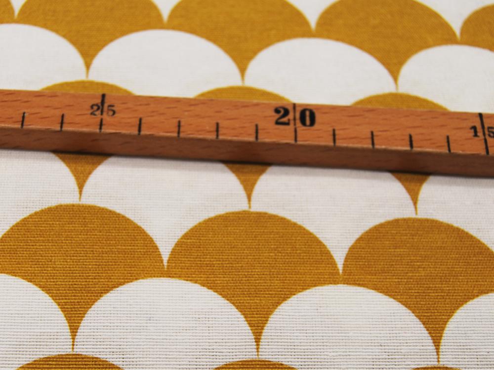 Dekostoff Ottoman Graphisches Muster Senf-Weiß 05m