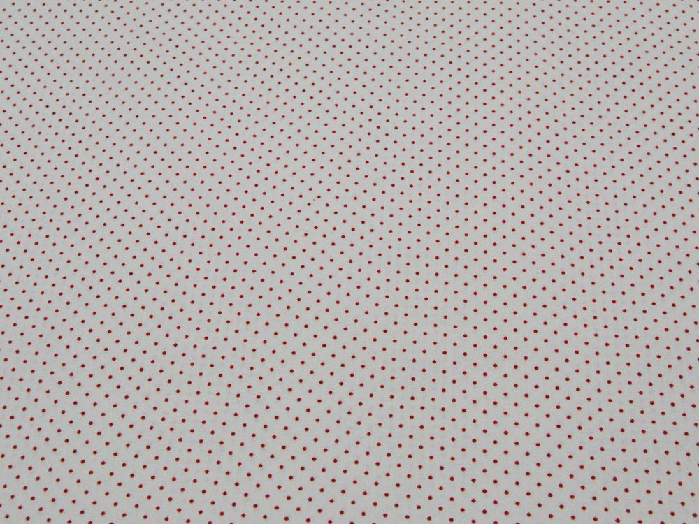 Rote Minipunkte auf cremefarbene Baumwolle Meter