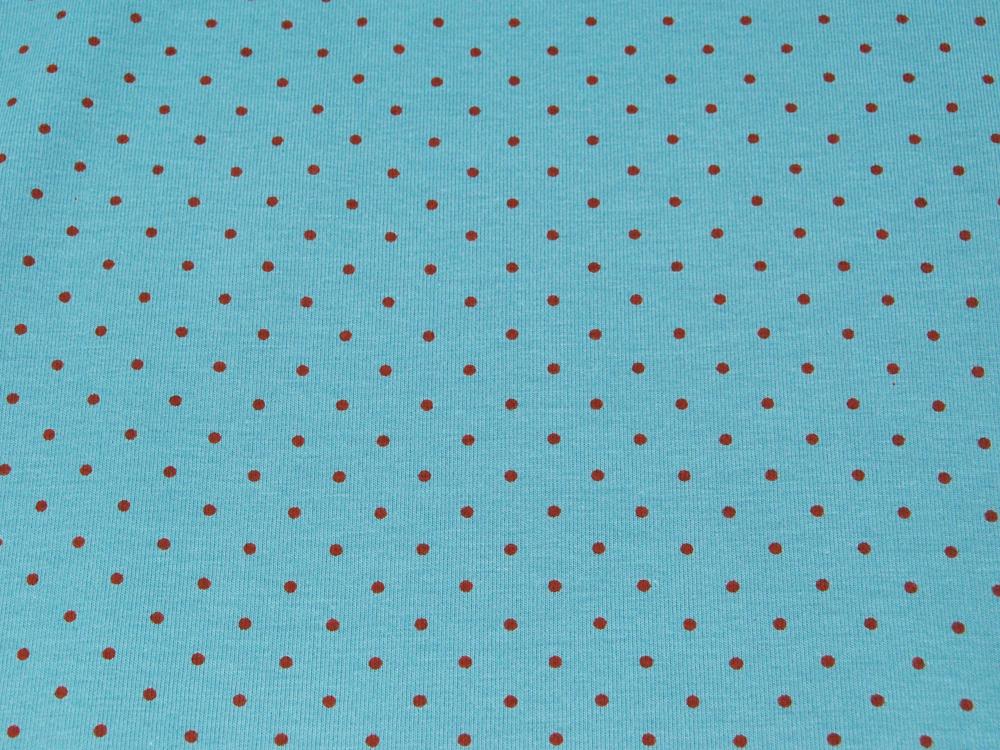 JERSEY Hellblau mit Minipunkten in Rot