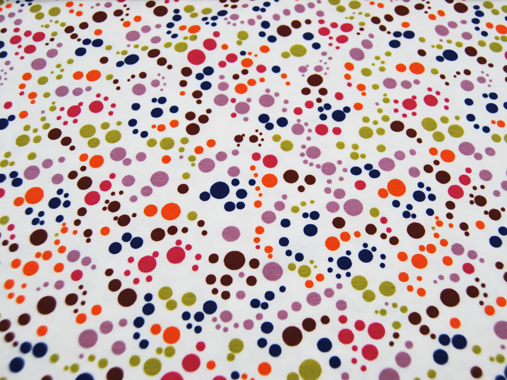 Jersey Dots Bunte Punkte auf Weiß