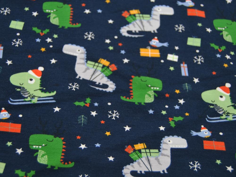 Jersey Weihnachten mit Dinos auf Dunkelblau