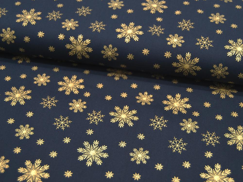 Baumwolle Popeline Weihnachten Schneeflocken auf Blau