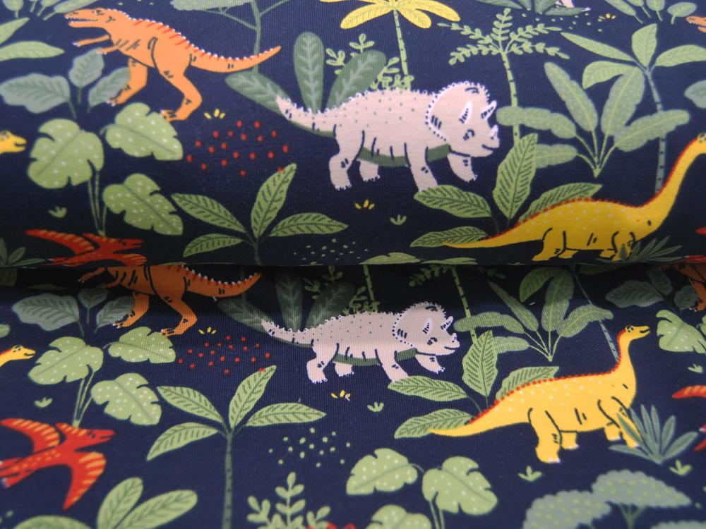 French Terry GOTS Dino Dinosaurier und