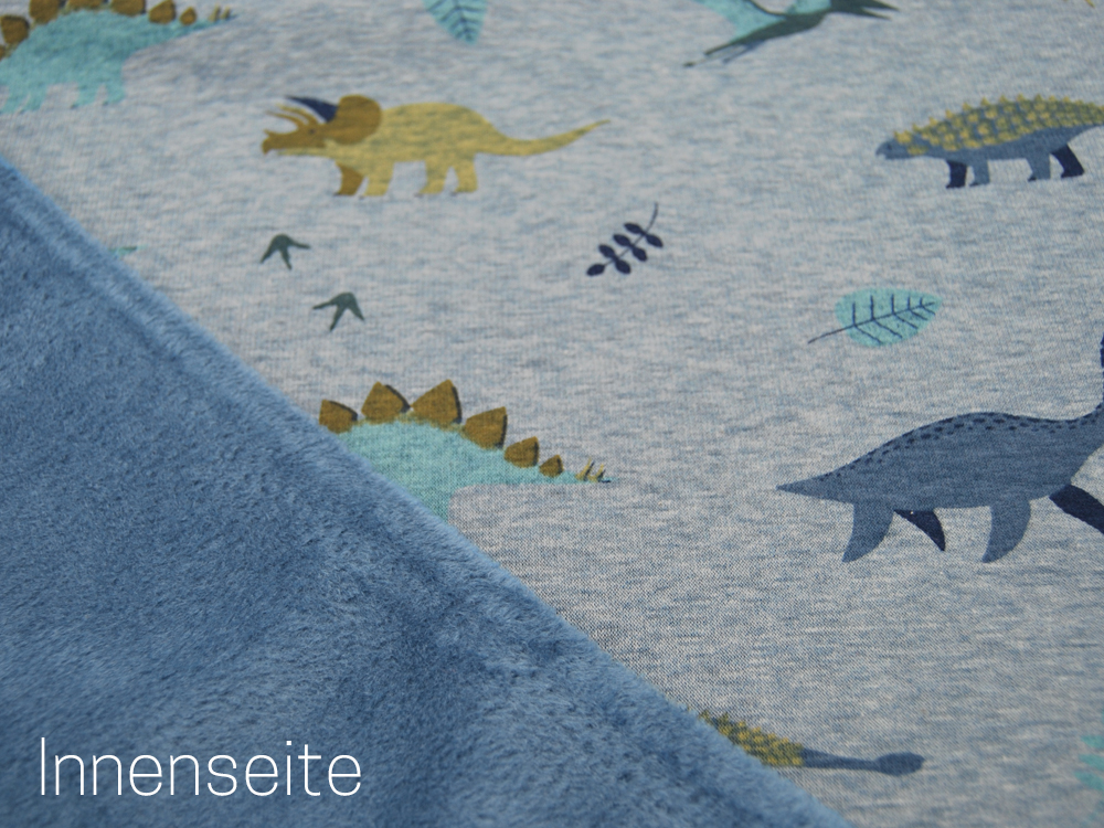 Happy Fleece Dinos auf Dusty Blue
