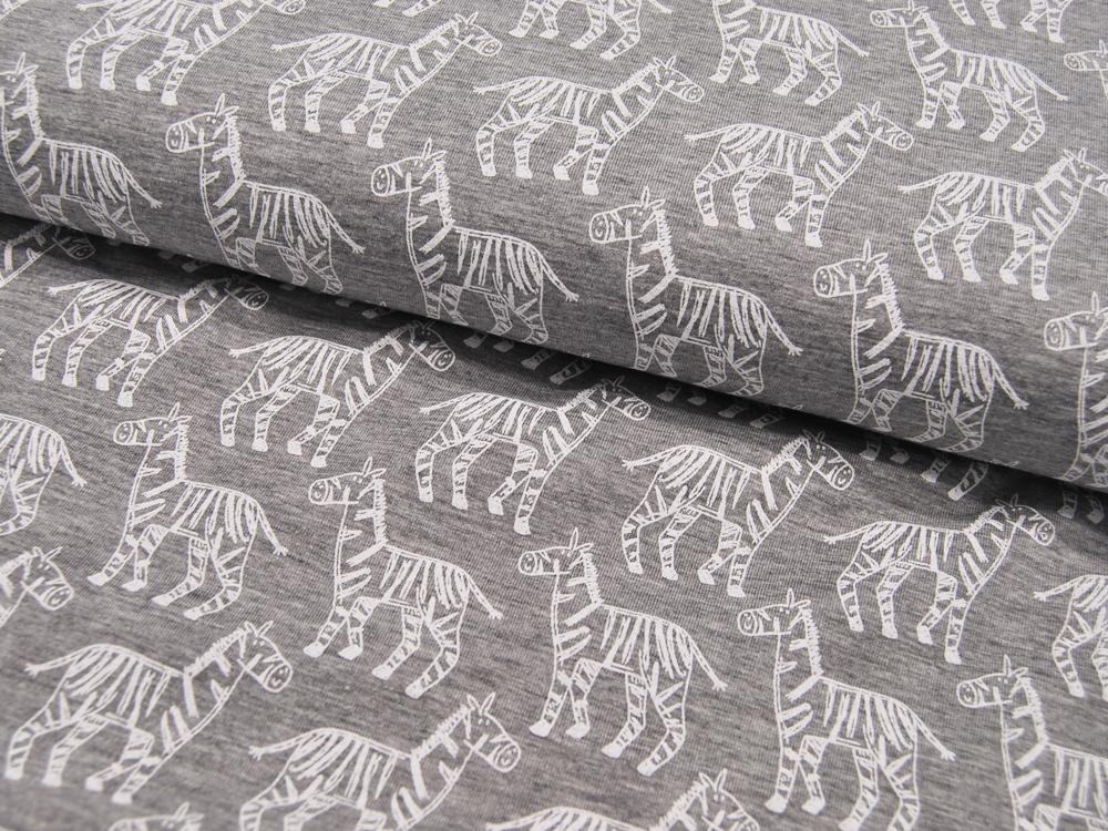 JERSEY - Zebras auf Graumeliert -