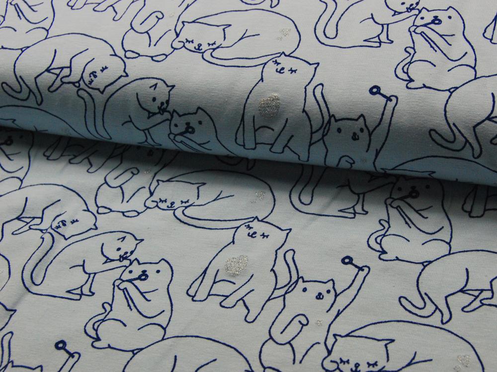 Jersey - Katzen mit Glitzer auf Hellblau - 0,5 Meter - 1
