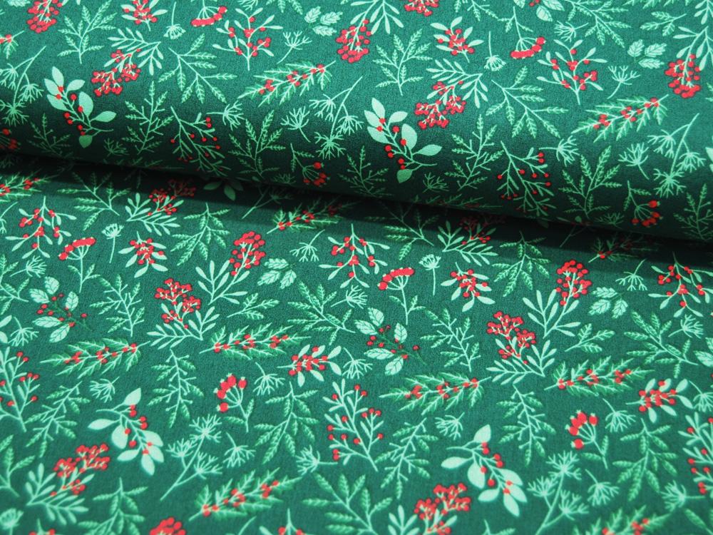 Baumwolle Popeline Pflanzen auf Dunkelgrün Mistelzweige