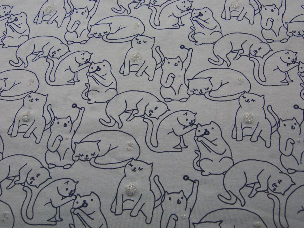 Jersey - Katzen mit Glitzer auf Hellblau - 0,5 Meter - 2