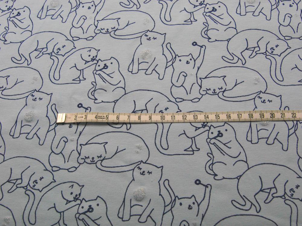 Jersey - Katzen mit Glitzer auf Hellblau - 0,5 Meter - 3