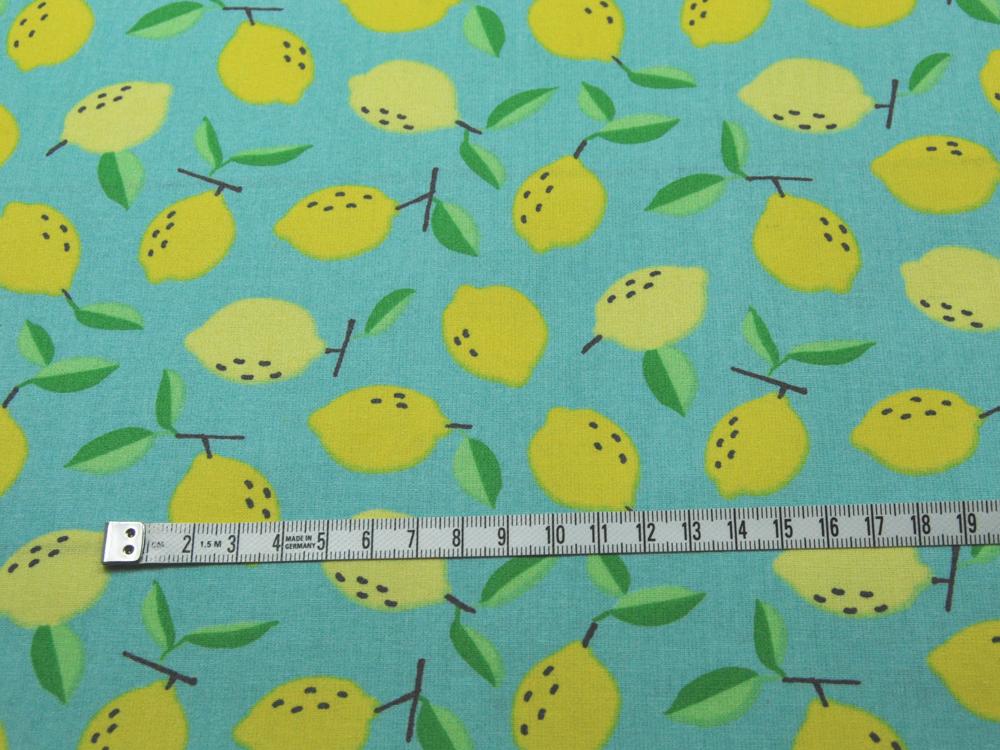 Beschichtete Baumwolle Zitronen auf Hellblau50 145cm